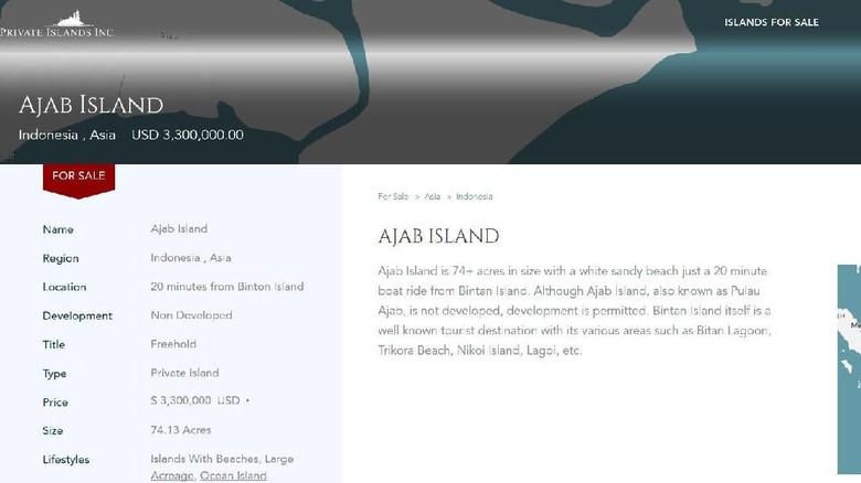 Heboh Pulau di Bintan, KEPRI Dijual Online
